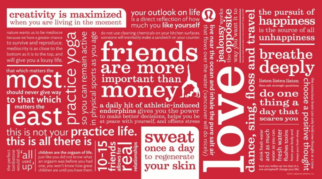 Lululemon's Manifesto banner from their website