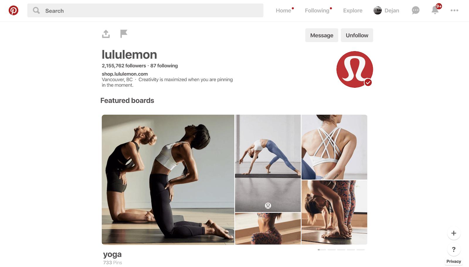 Pinterest and Lululemon - good match